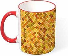 DKISEE Kaffeetasse mit quadratischem Muster,
