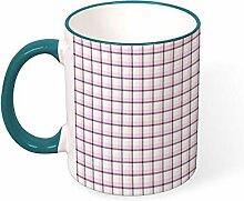 DKISEE Kaffeetasse mit rosa Karomuster,