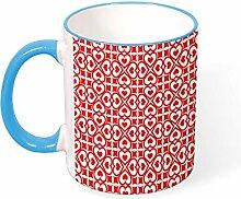 DKISEE Kaffeetasse mit rotem Herz-Hintergrund,