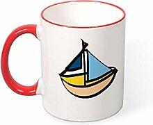DKISEE Kaffeetasse mit Segelboot-Motiv, Rot, 325 ml