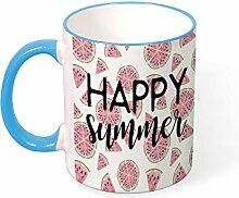 DKISEE Kaffeetasse Tee Tasse Happy Summer