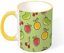 DKISEE Kaffeetasse Tee Tasse Kirsche Apfel