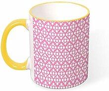 DKISEE Kaffeetasse Tee Tasse rosa runde Punkte