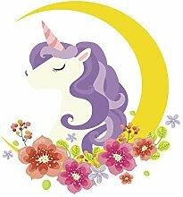 DKRETS Einhorn Blumen Mond Wandaufkleber Mädchen