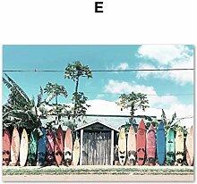 DLFALG Rosa Bus Meer Strand Mädchen Kokospalme