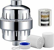 Dlife 10-stufiger Dusch-Wasserfilter mit 2 Kartuschen - für jeden Duschkopf und jede Handbrause - Entfernung von Chlor, Schwermetallen und Schwefelgeruch aus dem Wasser