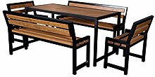 DM Grill Gartengarnitur, Tisch + 2 Lange Bänke +