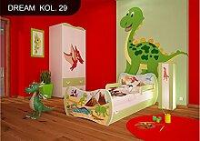 DM Kinderbett Grün mit Matratze Bettkasten und Lattenrost für Jungen Mädchen (140x70 cm, DM29 DINOSAURIER)