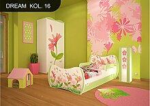 DM Kinderbett Grün mit Matratze Bettkasten und Lattenrost für Jungen Mädchen (160x80 cm, DM16 BLUMEN)