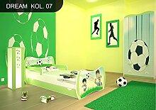 DM Kinderbett Grün mit Matratze Bettkasten und Lattenrost für Jungen Mädchen (140x70 cm, DM07 FUßBALL)
