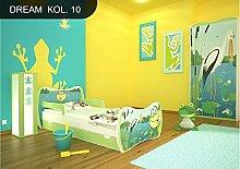 DM Kinderbett Grün mit Matratze Bettkasten und Lattenrost für Jungen Mädchen (160x80 cm, DM10 FROSCH)