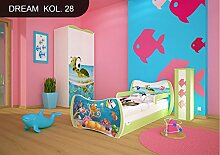 DM Kinderbett Grün mit Matratze Bettkasten und Lattenrost für Jungen Mädchen (180x90 cm, DM28 OZEAN)