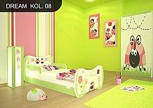 DM Kinderbett Grün mit Matratze Bettkasten und Lattenrost für Jungen Mädchen (180x90 cm, DM08 INSEKTEN)