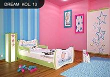 DM Kinderbett Grün mit Matratze Bettkasten und Lattenrost für Jungen Mädchen (160x80 cm, DM13 SWEET DREAM)