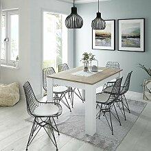 Dmora Ausziehbarer Tisch mit weißer Struktur und