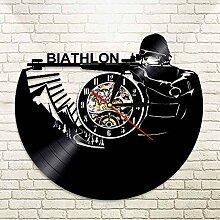 DMRDJV&ZL Wanduhr Biathlon Ziel Vinyl Uhr Rekord