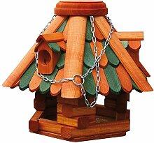 dobar 45090e Klassisches Vogelhaus in Blockhaus-Optik mit Holzschindeln gedeckt inklusive Kette zum Aufhängen