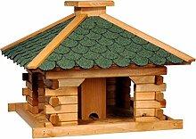 dobar 45320e Rustikales Vogelfutterhaus im Blockhaus-Stil mit grünem Bitumendach, Vogelhaus mit integriertem Futtersilo, Kiefer, XL, grün