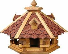 dobar 98710e Rustikales Vogelfutterhaus im Blockhaus-Stil mit rotem Bitumendach, Vogelhaus mit 6 Einfluglöchern, Kiefer, XL, ro