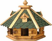 dobar 98720e Rustikales Vogelfutterhaus im Blockhaus-Stil mit grünem Bitumendach, Vogelhaus mit 6 Einfluglöchern, Kiefer, XL, grün