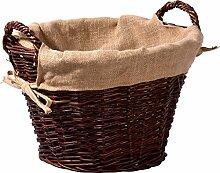 dobar Dunkler Kaminholzkorb aus ungeschälter Weide, mit Jute ausgekleidet, Dunkelbraun, 50 x 50 x 34 cm