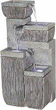 dobar Großer Design Garten-Brunnen mit Pumpe und LED´s, Polyresin, grau, 38.7 x 32.3 x 80.3 cm, 96130e