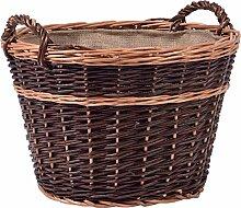 dobar Zweifarbiger Kaminholzkorb aus ungeschälter Weide, mit Jute ausgekleidet, Dunkelbraun, 50x50x34 cm