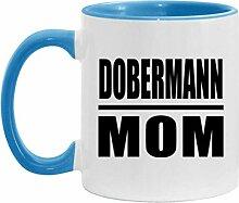 Dobermann Mom - 11oz Accent Mug Blue Kaffeebecher