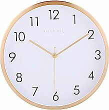 Dobess 12 Zoll Modern Quartz Lautlos Wanduhr mit Metallrahmen Schleichende Sekunde ohne Ticken ( Gold )