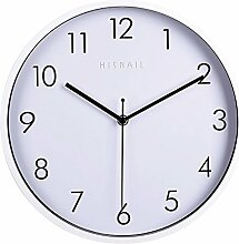 Dobess 12 Zoll Modern Quartz Lautlos Wanduhr mit Metallrahmen Schleichende Sekunde ohne Ticken ( Weiß )