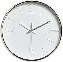 Dobess 12 Zoll Modern Quartz Lautlos Wanduhr Römische Ziffern Schleichende Sekunde ohne Tickgeräusche ( Weiß )