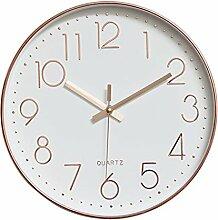 Dobess 12 Zoll Modern Quartz Lautlos Wanduhr Schleichende Sekunde ohne Ticken ( Rosegold )