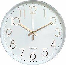 Dobess 12 Zoll Modern Quartz Lautlos Wanduhr Schleichende Sekunde ohne Ticken ( Weiß & Rosegold )