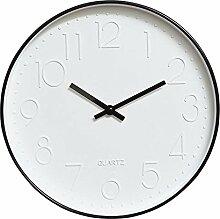 Dobess 12 Zoll Modern Quartz Lautlos Wanduhr Schleichende Sekunde ohne Ticken ( Schwarz )