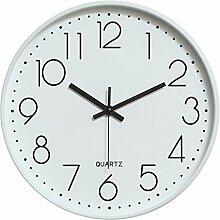 Dobess 12 Zoll Modern Quartz Lautlos Wanduhr Schleichende Sekunde ohne Ticken ( Weiß & Schwarz )
