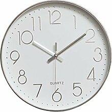 Dobess 12 Zoll Modern Quartz Lautlos Wanduhr Schleichende Sekunde ohne Ticken ( Silber )