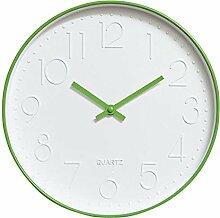 Dobess 12 Zoll Modern Quartz Lautlos Wanduhr Schleichende Sekunde ohne Ticken ( Grün )