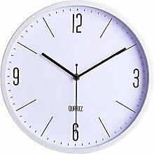 Dobess 12 Zoll Quartz Geräuschlos Modern Metallrahmen Wanduhr Schleichende Sekunde ohne Ticken ( Weiß )
