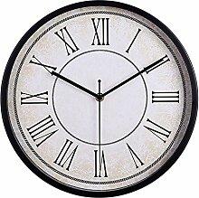 Dobess 12 Zoll Retro Quartz Metall Wanduhr Römische Ziffern Schleichende Sekunde ohne Ticken ( Schwarz )