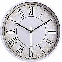 Dobess 12 Zoll Retro Quartz Metall Wanduhr Römische Ziffern Schleichende Sekunde ohne Ticken ( Weiß )