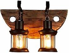 DOCJX Retro Wandleuchte innen aus Holz Wandlampe