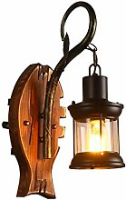 DOCJX vintage Industrie Wandleuchten Massivholz
