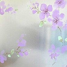DODOING 45x1000cm Sichtschutzfolie Milchglasfolie Fenster Folie Lila Blume Deko selbstklebend
