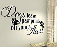 Dogs Leave Paw Prints On Your Heart, PET PUPPY Tiere Kinder Home Love Zitat Wand Vinyl Aufkleber Aufkleber Art Decor DIY