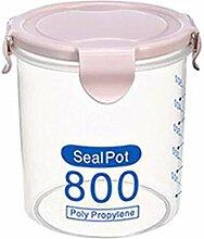Doitsa 1pcs Aufbewahrungsbox Versiegelt Vorratsdose Lebensmittel aufbewahren Transparent sichtbar,leicht zu unterscheiden für die Küche Lagerung 800ml Rosa