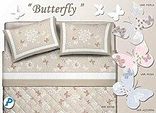 dolcenotte Queensize-Bett komplett Bettwäsche Set für Doppelbett, 1und eine Hälfte Schmetterling der Schmetterling, Grau, double/queen