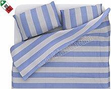 dolcenotte Queensize-Bett Single Bettbezug Set Shabby Chic Style Gestreift Blau und Orange blau
