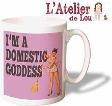 Domestic Goddess Lustige Keramisch Kaffeetasse Tasse Mug - Originelle Geschenkidee - Spülmachinenfes
