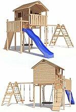 Domizilio Spielturm Kletterturm Baumhaus Rutsche Schaukeln (erweiterter Schaukelanbau) (Blau)