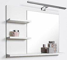 DOMTECH Badspiegel mit Ablagen Weiß mit LED